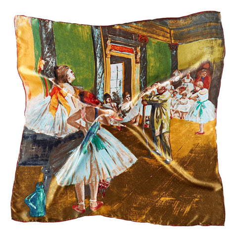 Yangtze Store Large Square Silk Scarf Classic Painting Ballet Class SZD202