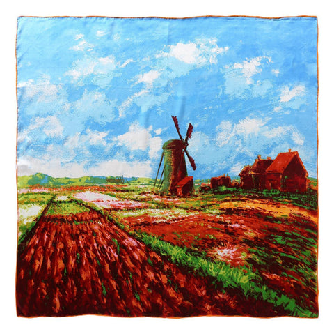 Yangtze Store Large Square Silk Scarf Classic Painting Farm Scenery SZD075