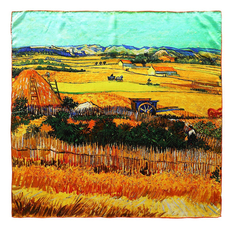 Yangtze Store Large Square Silk Scarf Classic Painting Farm Scenery SZD076
