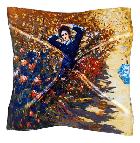 Yangtze Store Large Square Silk Scarf Classic Painting Lady in Flowers SZD203