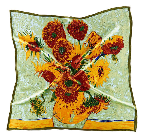Yangtze Store Large Square Silk Scarf Classic Painting Sunflowers by Van Gogh SZD204