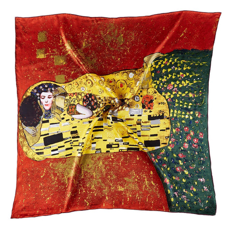 Yangtze Store Large Square Silk Scarf Classic Painting The Kiss By Klimt SZD208