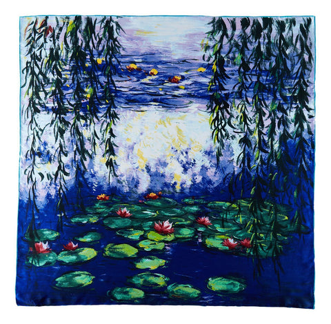 Yangtze Store Large Square Silk Scarf Classic Painting Waterlilies by Monet SZD214