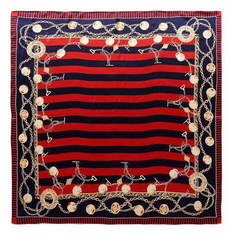 Yangtze Store Large Square Silk Scarf Red and Navy Stripes and Links Print SZD081