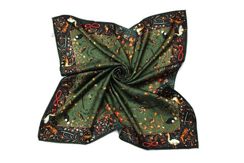 Yangtze Store Large Square Silk Twill Scarf Black and Green Theme Floral and Birds Print XWC660