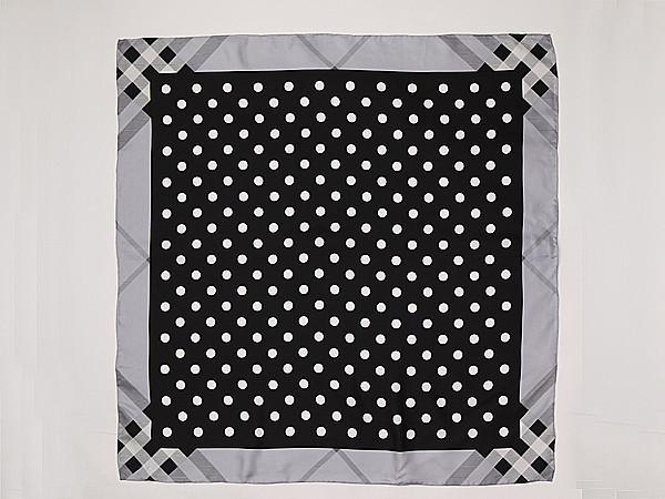 Large Square Silk Twill Scarf Black And White Polka Dot