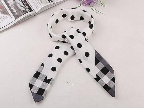 Yangtze Store Large Square Silk Twill Scarf Black and White Polka Dot Print XWC077
