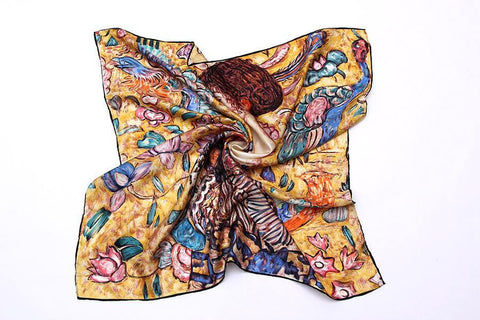 Yangtze Store Large Square Silk Twill Scarf Blue and Yellow Theme Classic Painting Print XWC664
