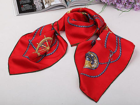 "Yangtze Store Large Square Silk Twill Scarf with Hand Rolled Hem 36""x36""(90x90cm) Red Theme Nautical Print XWC182"