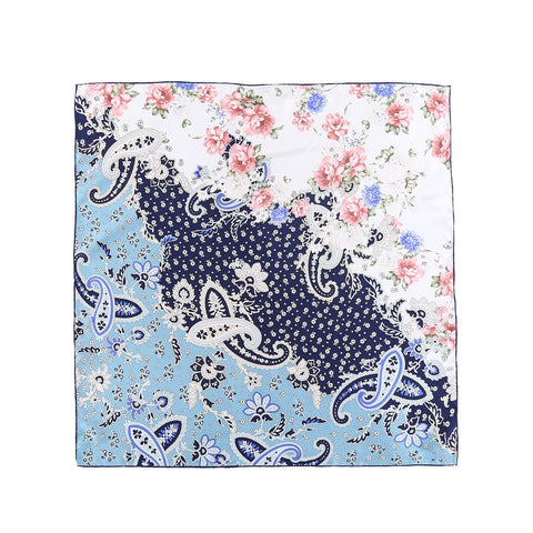 Yangtze Store Large Square Twill Silk Scarf Blue Theme Paisley Print XWC707