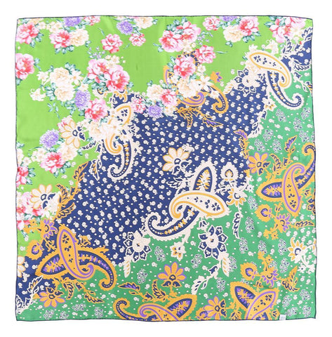 Yangtze Store Large Square Twill Silk Scarf Green Theme Paisley and Flower Print XWC718