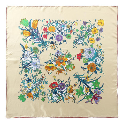 Yangtze Store Large Square Twill Silk Scarf Ivory Theme Flower Print XWC724
