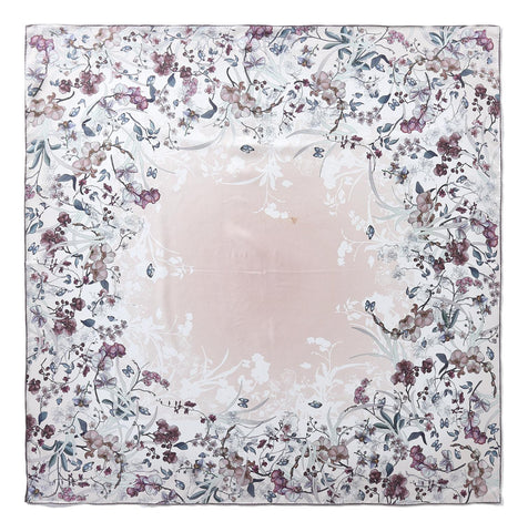 Yangtze Store Large Square Twill Silk Scarf Light Pink Theme Flower Print XWC726