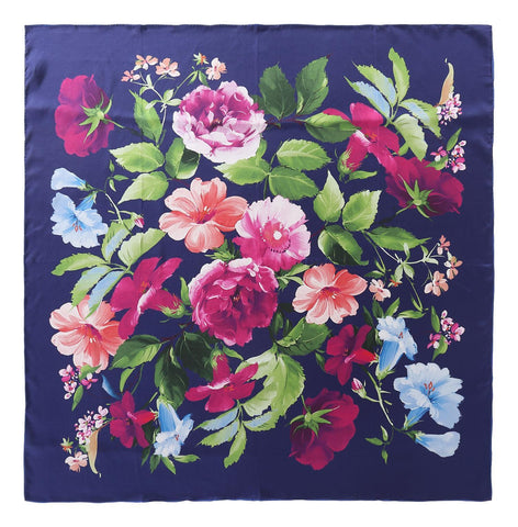 Yangtze Store Large Square Twill Silk Scarf Navy Theme Flower Print XWC725