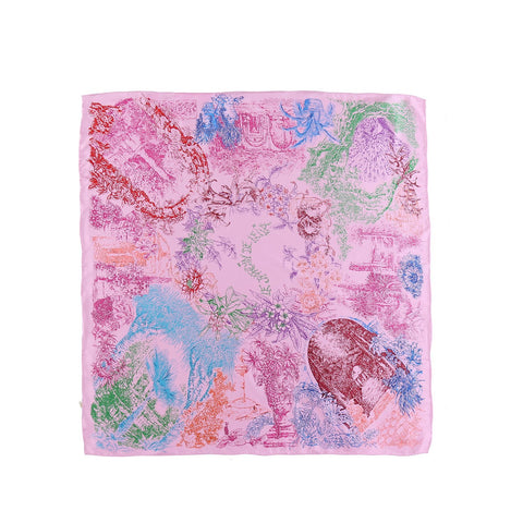 Yangtze Store Large Square Twill Silk Scarf Pink Theme Floral Print XWC704