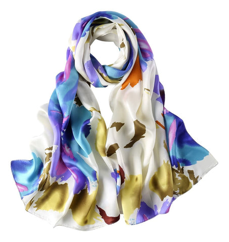 Yangtze Store Long Charmeuse Satin Silk Scarf Blue and White Abstract Print LZD021