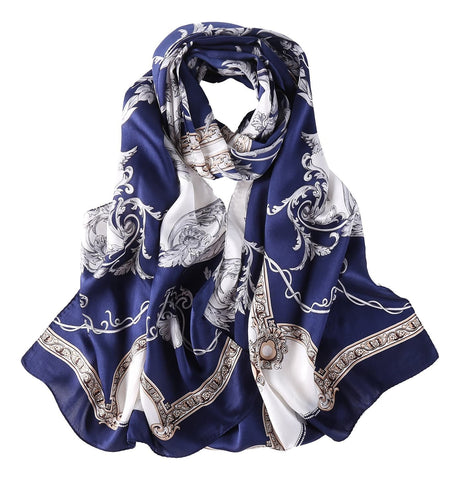 Yangtze Store Long Charmeuse Satin Silk Scarf Navy Blue Links and Belts Print LZD025