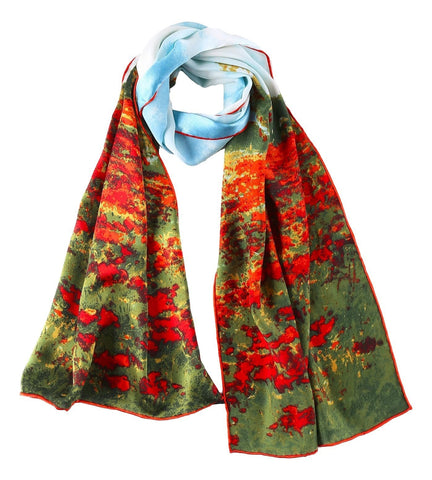 Yangtze Store Long Charmeuse Satin Silk Scarf with Classic Painting Print LZD102