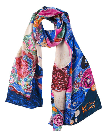 Yangtze Store Long Charmeuse Satin Silk Scarf with Print of Painting by Klimt LZD104
