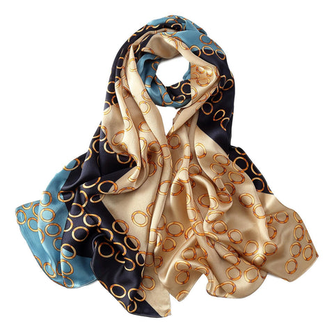 Yangtze Store Long Charmeuse Silk Scarf Blue and Taupe Polka Dot Print LZD036