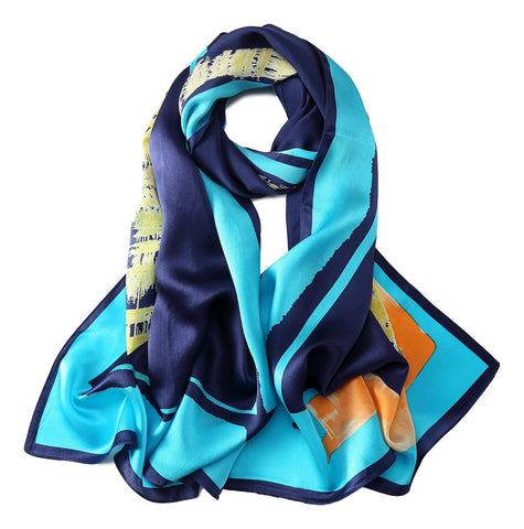 Yangtze Store Long Charmeuse Silk Scarf Blue Theme Abstract Print LZD041