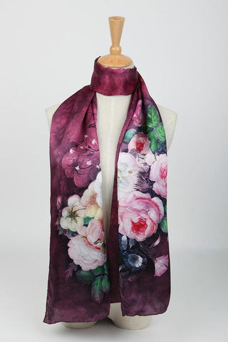 Yangtze Store Long Charmeuse Silk Scarf Burgundy Theme Flower Pattern Digitally Printed DCC004