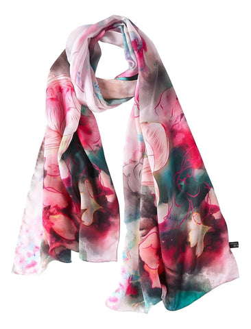 Yangtze Store Long Charmeuse Silk Scarf Pink  Color Floral Print DCC106