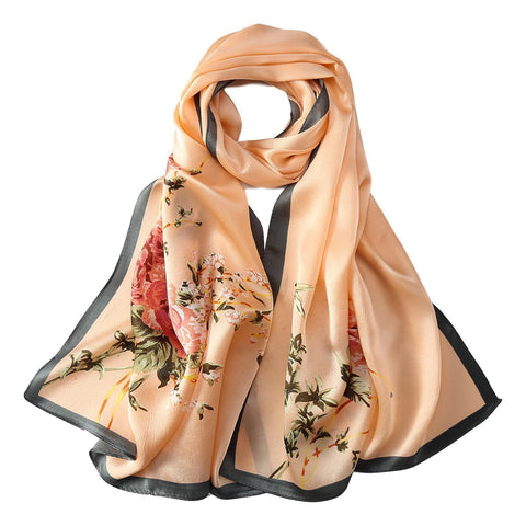 Yangtze Store Long Charmeuse Silk Scarf Pink Color Flower Print LZD038