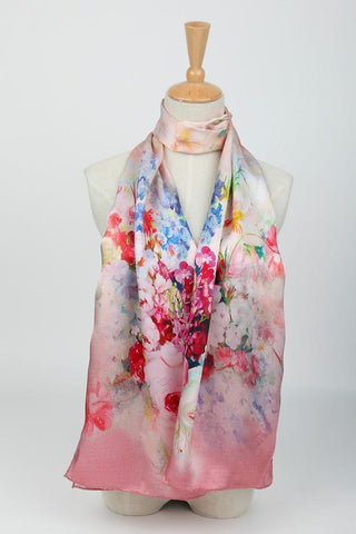 Yangtze Store Long Charmeuse Silk Scarf Pink Theme Flower Pattern Digitally Printed DCC006