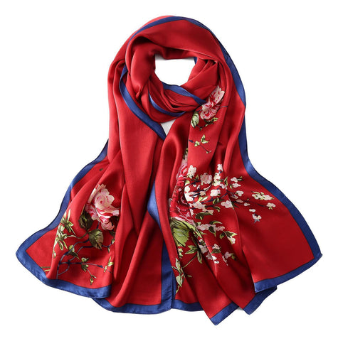 Yangtze Store Long Charmeuse Silk Scarf Red Color Flower Print LZD040