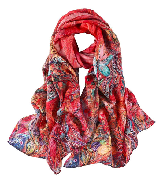 Long Charmeuse Silk Scarf Red Theme Floral And Butterfly