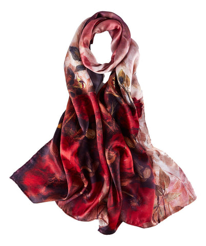 Yangtze Store Long Charmeuse Silk Scarf Red Theme Rose Print DCC205