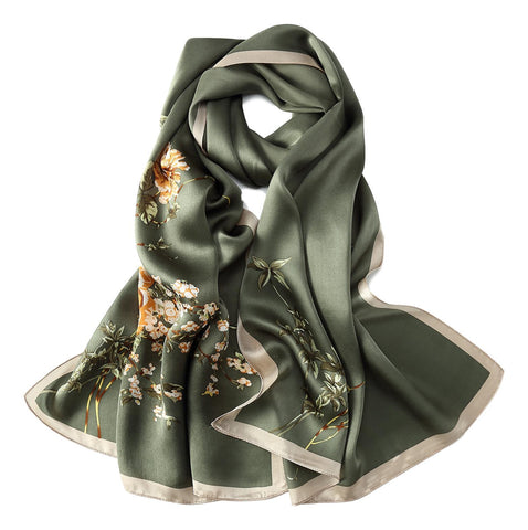 Yangtze Store Long Charmeuse Silk Scarf Sage Color Flower Print LZD037