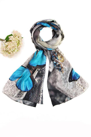 Yangtze Store Long Charmeuse Silk Scarf Turquoise and Silver Theme Butterfly Print Digitally Printed DCC043