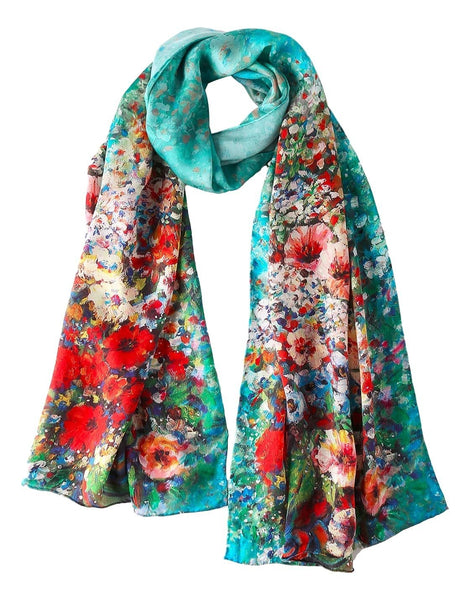 Long Charmeuse Silk Scarf Turquoise Theme Floral Print