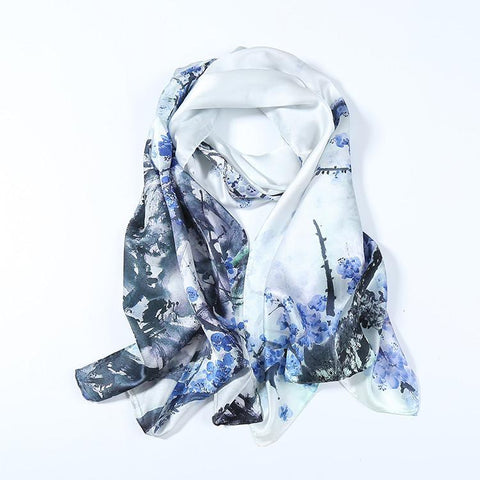 Yangtze Store Long Charmeuse Silk Scarf White Theme Floral Print Digitally Printed DCC055