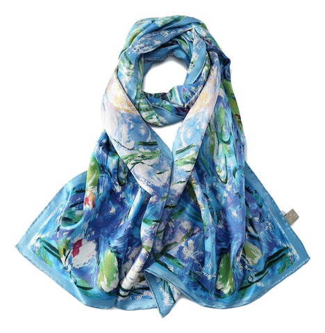 Yangtze Store Long Charmeuse Silk Scarf with Classic Painting Blue Floral Print LZD111