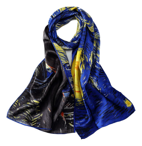 Yangtze Store Long Charmeuse Silk Scarf with Van Gogh Painting Starry Night LZD113