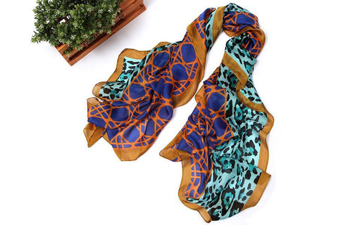 Yangtze Store Long Chiffon Scarf Blue and Gold Leopard Theme CHL111