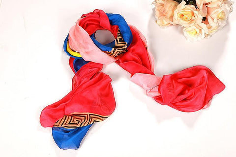 Yangtze Store Long Chiffon Scarf Blue and Red CHL104