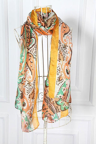 Yangtze Store Long Chiffon Scarf Brown and Yellow Paisley Print CHL103