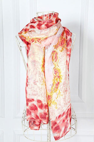 Yangtze Store Long Chiffon Scarf Red and yellow Theme Leopard Print CHL102