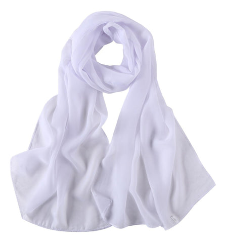 Yangtze Store Long Chiffon Scarf Solid White Color CHL401