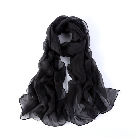 Yangtze Store Long Chiffon Silk Scarf Solid Black Color SQL005