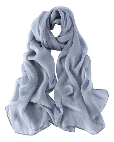 Yangtze Store Long Chiffon Silk Scarf Solid Gray Color SQL017