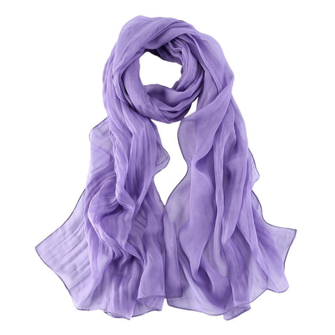 Yangtze Store Long Chiffon Silk Scarf Solid Mauve Color SQL012