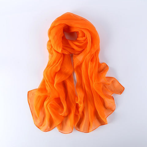 Yangtze Store Long Chiffon Silk Scarf Solid Orange Color SQL003