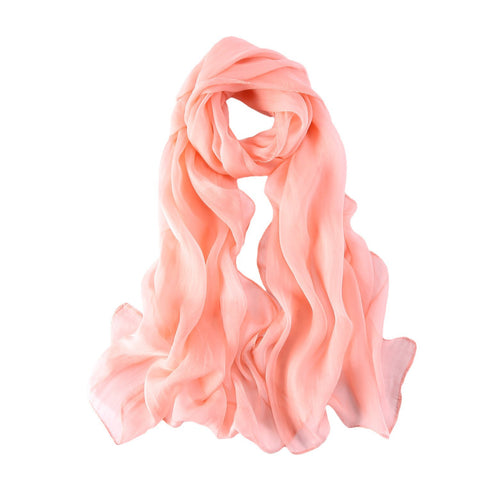 Yangtze Store Long Chiffon Silk Scarf Solid Pink  Color SQL004