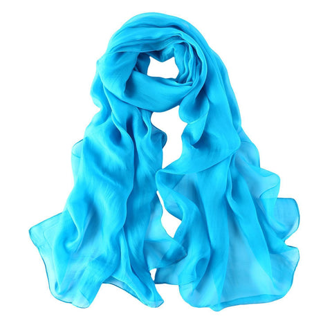 Yangtze Store Long Chiffon Silk Scarf Solid Turquoise Color SQL015