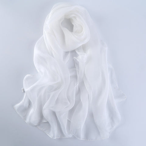 Yangtze Store Long Chiffon Silk Scarf Solid White Color SQL010